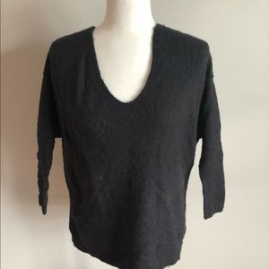 Free People black v-neck wool sweater